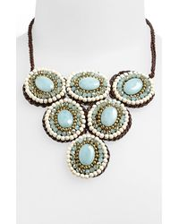 Panacea | Blue Howlite Circle Bib Necklace | Lyst