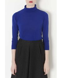 TOPSHOP - Blue Knitted Roll Neck Jumper - Lyst
