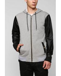 Urban Outfitters | Gray Feathers Vegan-leather Zip-up Hoodie Sweatshirt for Men | Lyst