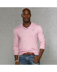 Lyst Polo Ralph Lauren Pima Cotton Vneck Sweater In Pink