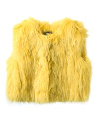 Isabel Marant   Yellow Cropped Fur Gilet   Lyst