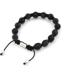 Nialaya | Black Solid Silver and Crystal Bracelet for Men | Lyst