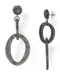 Roni Blanshay | Black Crystal Open Link Drop Earrings | Lyst