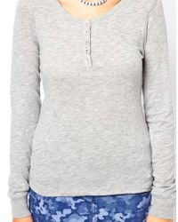 Roxy - Gray Button Front Top - Lyst