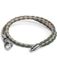 Tod's - Green Bicolour Plaited Bracelet for Men - Lyst