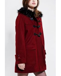 Urban Outfitters | Red Pins and Needles Faux Furtrim Duffle Coat | Lyst