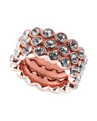 Givenchy - Pink Gold-Plated Crystal Stack Ring - Lyst