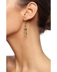 Dean Harris - Handmade Green Chrome Mint Sapphire Earrings with 18k Yellow Vine and White Diamond Vine Ear Wires - Lyst