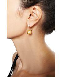 Delfina Delettrez - Metallic Double Pearl Earring - Lyst