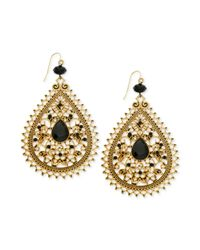 Guess - Metallic Goldtone Filigree and Jet Stone Accent Teardrop Earrings - Lyst