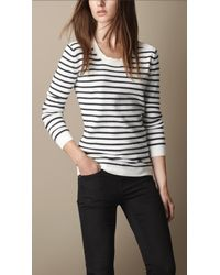 Burberry - White Merino Wool Cashmere Striped Sweater - Lyst