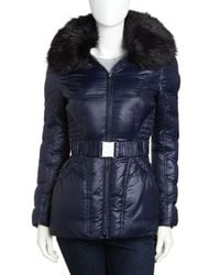 Laundry by Shelli Segal - Blue Faux Fur-trimmed Belted Coat - Lyst
