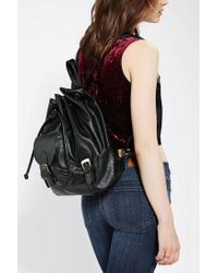 Urban Outfitters - Black Vegan Leather Drawstring Backpack - Lyst