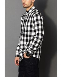Forever 21 Classic Fit Buffalo Plaid Shirt in Black for Men | Lyst