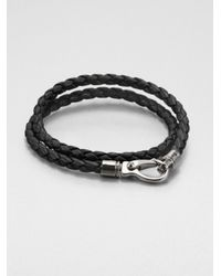 Tod's - Black Leather Double-Wrap Bracelet for Men - Lyst