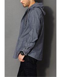 Forever 21 - Blue Hooded Chambray Shirt for Men - Lyst