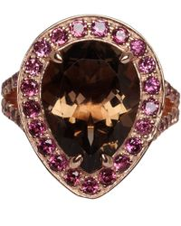 Dinny Hall | Pink Rose Gold Vermeil Smoky Quartz Shai Ring | Lyst