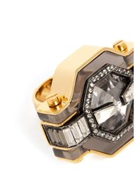 Lanvin | Metallic Crystal Enamel Ring | Lyst