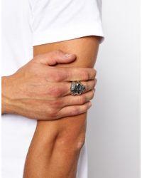 ASOS - Metallic Reclaimed Vintage Skull Cross Ring for Men - Lyst