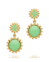 Tory Burch | Green Winslow Logo Drop Earring | Lyst