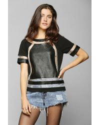 Urban Outfitters | Black Sparkle Fade Sheer Stripe Fabric mix Top | Lyst