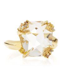 Alexis Bittar Fine - Metallic 18K Gold Diamond-Prong Ice Quartz Ring - Lyst