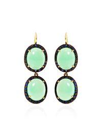 Andrea Fohrman | Green 18k Yellow Gold Chrysoprase and Sapphire Kat Earrings | Lyst