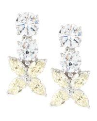 Fantasia by Deserio - Metallic Flower-drop Cubic Zirconia Earrings - Lyst
