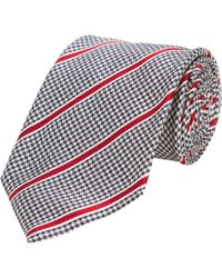 Giorgio Armani - Black Houndstooth Check and Stripe Neck Tie for Men - Lyst