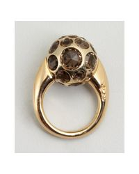 Pomellato - Metallic Gold and Smoky Quartz Multi Stone Ball Estate Ring - Lyst