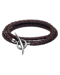 Shaun Leane - Brown Woven Leather Tusk Bracelet Black/silver for Men - Lyst