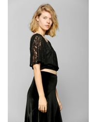Urban Outfitters - Black Pins and Needles Lace Flutter Cropped Tee - Lyst