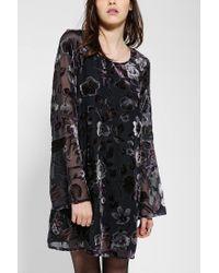 Urban Outfitters | Blue Staring At Stars Burn-out Velvet Bellsleeve Dress | Lyst