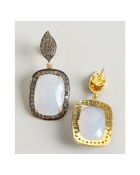 Amrapali - Blue Chalcedony and Diamond Drop Earrings - Lyst