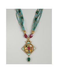 Amrapali | Blue Turquoise Multi Chain Ruby Emerald and Diamond Pendant Necklace | Lyst