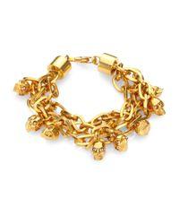 Alexander McQueen - Metallic Skull Charm Multi-row Chain Bracelet/goldtone - Lyst