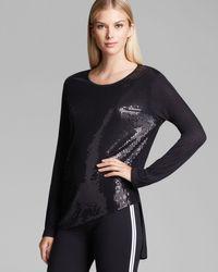 DKNY | Black Sequin Front Asymmetric Tee | Lyst