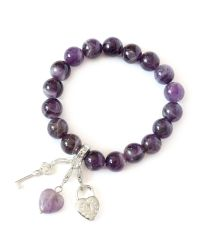 Charmology | Purple Key Topeace Amethyst Charm Bracelet | Lyst