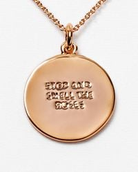 kate spade new york | Metallic Stop Smell The Roses Pendant Necklace | Lyst