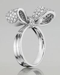 Mimi So - Bow Small 18K White Gold Diamond Ring - Lyst