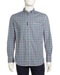 Robert Graham - Blue Woven Check Longsleeve Dress Shirt Teal Medium - Lyst