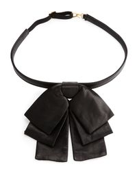 Saint Laurent | Black Leather Bow Collar | Lyst
