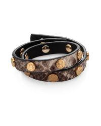 Tory Burch - Multicolor Logostudded Embossed Snakeskin Doublewrap Bracelet - Lyst