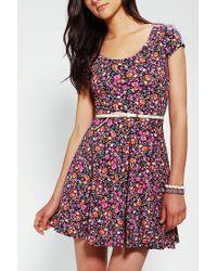 Kimchi Blue | Purple Knit Floral Skater Dress | Lyst