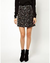 ASOS - Black A Line Skirt in Leopard Print - Lyst