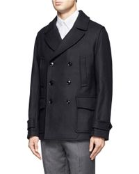 Hardy Amies - Blue Wool Wide Collar Double Breasted Coat for Men - Lyst