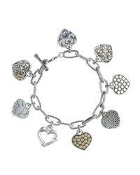 John Hardy | Metallic Gold Silver Hearts Charm Link Bracelet  | Lyst