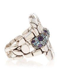John Hardy - Blue Kali Silver Lava Rectangular Topaz Lolite Pave Ring - Lyst