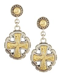 Konstantino - Metallic Maltese Cross Mixedmetal Earrings - Lyst