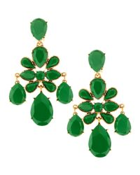Oscar de la Renta - Green Faceted Chandelier Clipon Earrings - Lyst